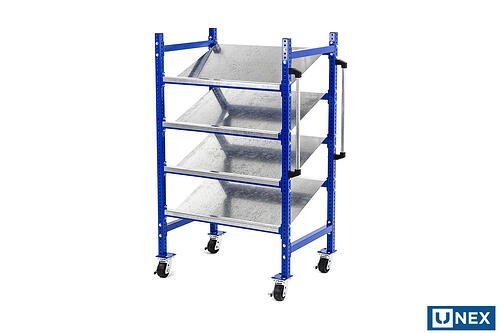 UNEX Flow Cell Pick Cart with Steel Trays and Handlebars
