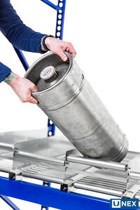 UNEX Keg-Flow has a roller end stop for easy picking of kegs.