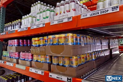 UNEX Span-Track Lane in a beverage distribution center using FIFO method
