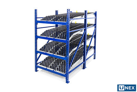 Carton flow: UNEX 8ft Roller Rack with Span-Track Knuckle Bed